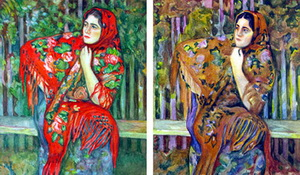 Девушка в платке разными цветами